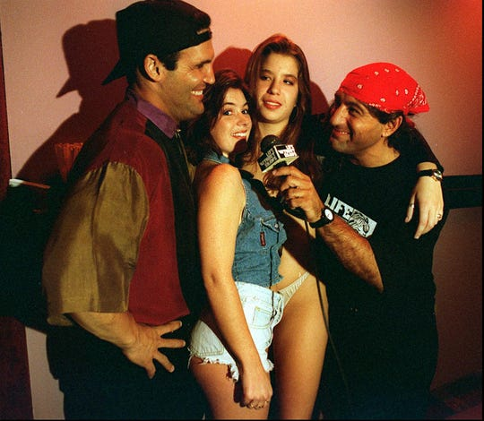 """Rick Castellano, """"Sharice,"""" """"Saphire"""" and Tom Loce filming a segment of """"Life Without Shame"""" in 1994."""