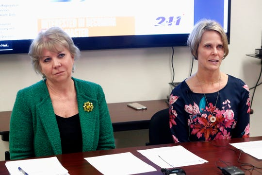 Shasta County Public Health Director Terri Fields Hosler, left, and County Health Officer Dr. Karen Ramstrom answer reporters' questions Thursday, April 11, 2019, involving a second person being treated for measles in the county. Thursday's announcement was about the first case this year of somebody who actually lives in Shasta County, Health and Human Services Agency spokeswoman Jill Haskett said.