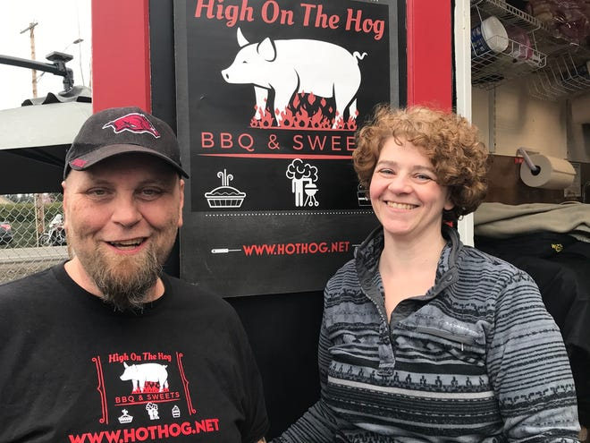 Couple Ken and Armenda Hayes,  pictured on March 27, 2019, opened their first food cart, High on the Hog BBQ & Sweets in mid-March, 2019.