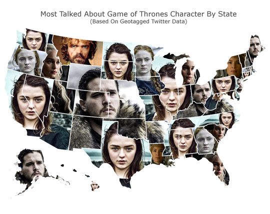 """Daring Planet analyzed more than 200,000 tweets over the past month to rank top """"Game of Thrones"""" characters by state."""