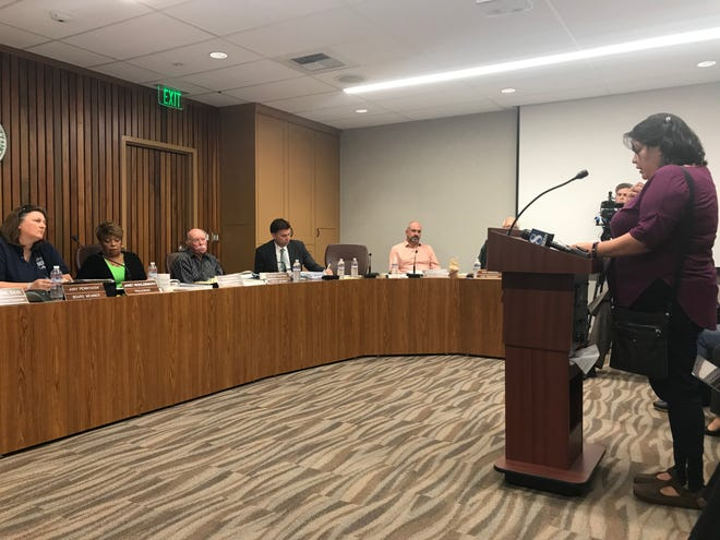 Maxine Siruta, a mother of a Millennium Charter High School freshman, speaks at the Monterey County Board of Education meeting on April 10, 2019.