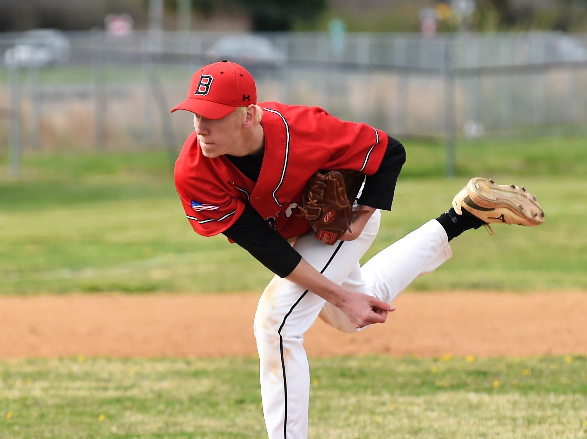James M. Bennett pitcher Ryan Mitchell throws a pitch against Washington on Thursday, April 11, 2019. JMB won, 13-2.