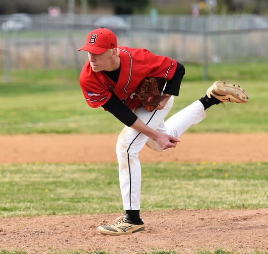 James M. Bennett pitcher Ryan Mitchell throws a pitch against Washington on Thursday, April 11, 2019. JMB won, 13-2.