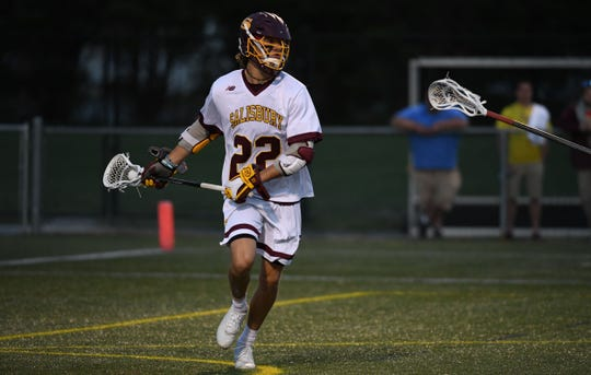Salisbury University's Cross Ferrara with the ball against Christoper Newport on Wednesday, April 10, 2019.