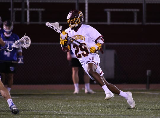 Salisbury University's Emory Wongus with the ball against Christoper Newport on Wednesday, April 10, 2019.
