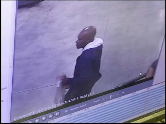 Suspect wanted for fire station burglary is seen on surveillance.