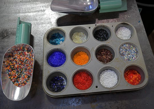 Glass beads used to add layers of color to glass art at Sanctuary Glass Studio located in Shreveport's Red River Brewing Company.