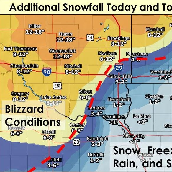 Another 3 to 4 inches of snow expected for Sioux Falls, more than a foot in Huron
