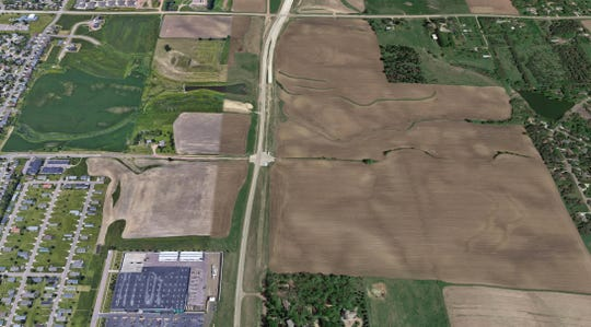 An image showing an overhead view of the Foss Fields site.