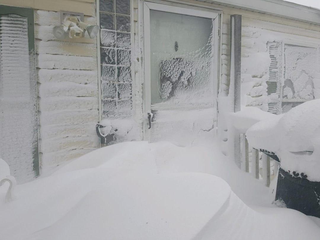 Snow piles in Watertown.