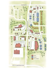 A rendering showing future plans for the Foss Fields development, based on current land-use rules.