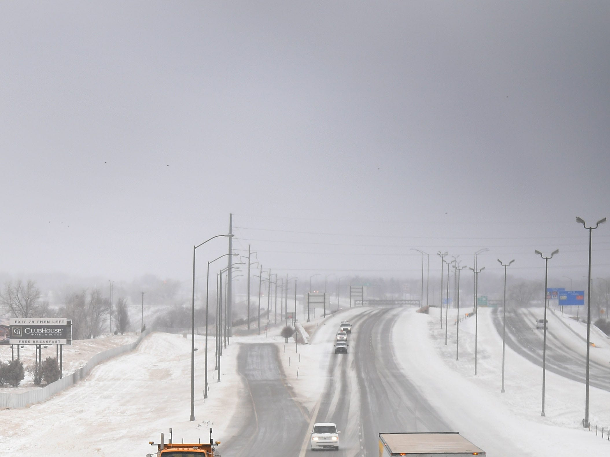 Snow plows clear Interstate 29 Thursday, April 11, in Sioux Falls. I 29 is still closed from Sioux Falls to the North Dakota border, while Interstate 90 remains shuttered from Sioux Falls to New Underwood.