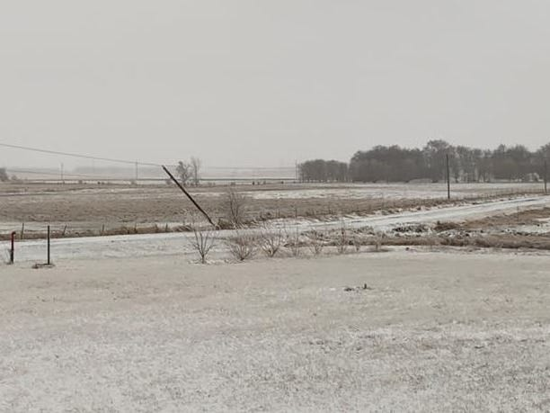 Downed power lines in Lennox, South Dakota during a blizzard on Thursday, April 11, 2019.