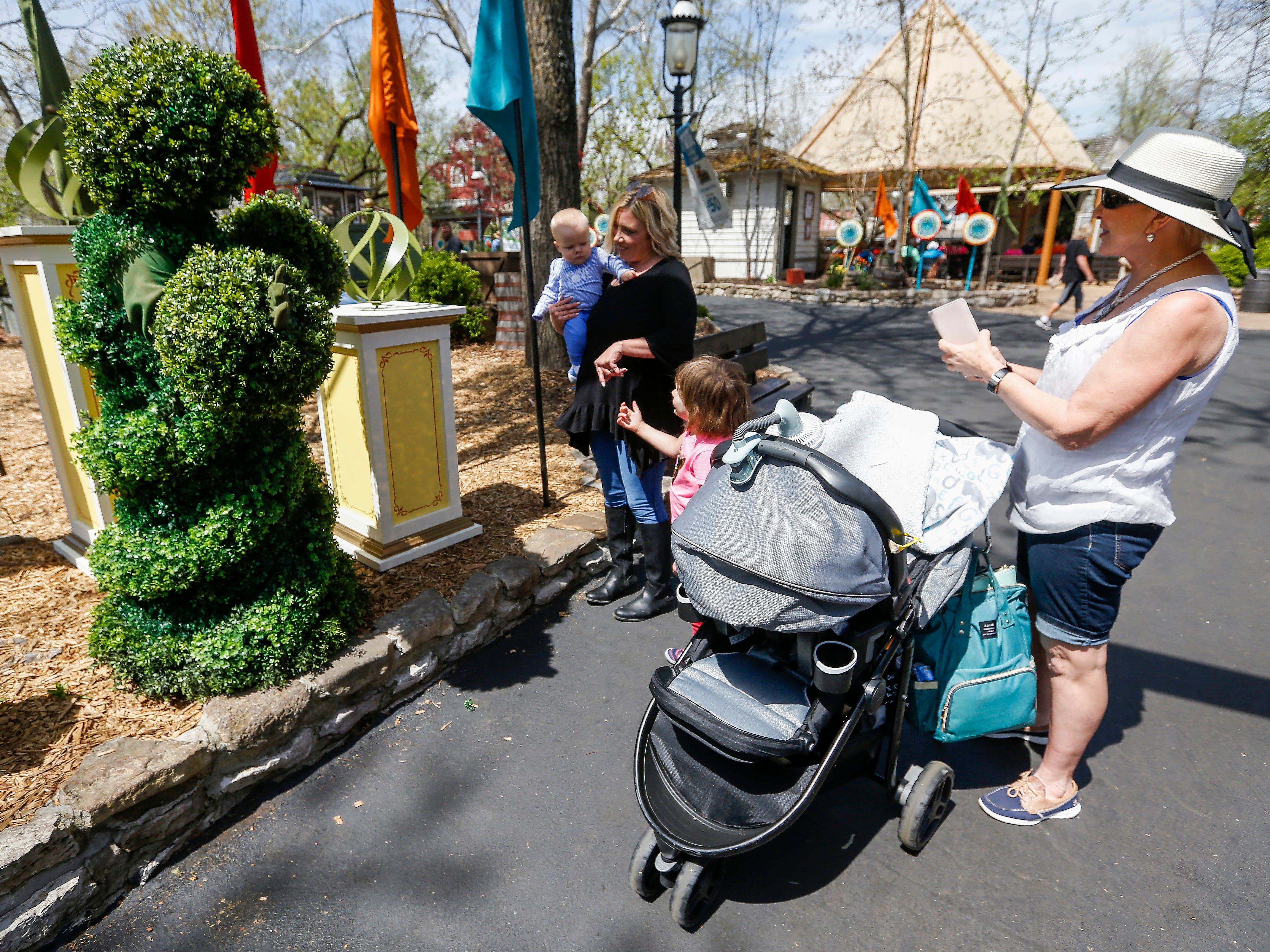 A living tree, left, talks with patrons during the Festival of Wonder on Wednesday, April 10, 2019 at Silver Dollar City. The event runs Wednesdays through Sundays, April 10-28.