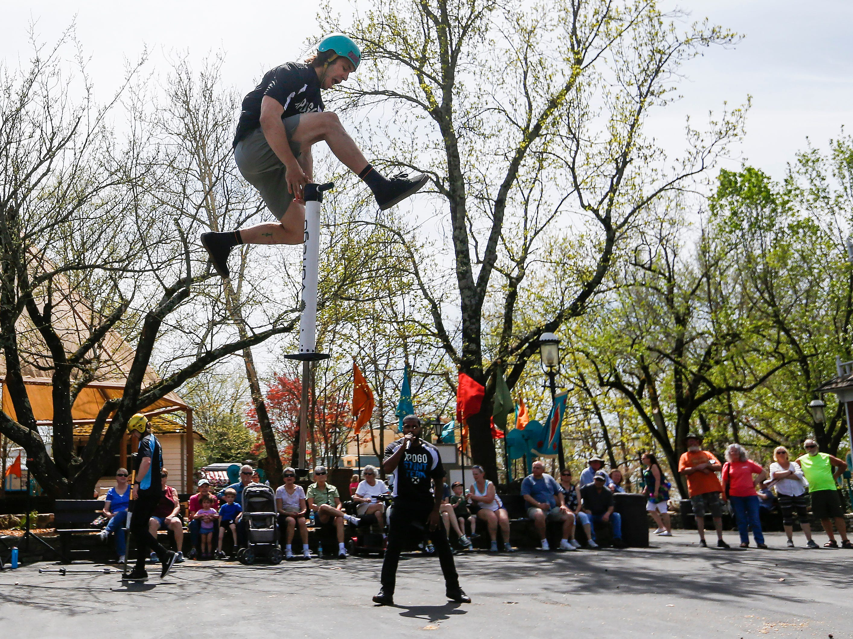 Russ Kaus, a member of the X-Pogo Stunt Team, performs as a part of Festival of Wonder on Wednesday, April 10, 2019 at Silver Dollar City. The event runs Wednesdays through Sundays, April 10-28.