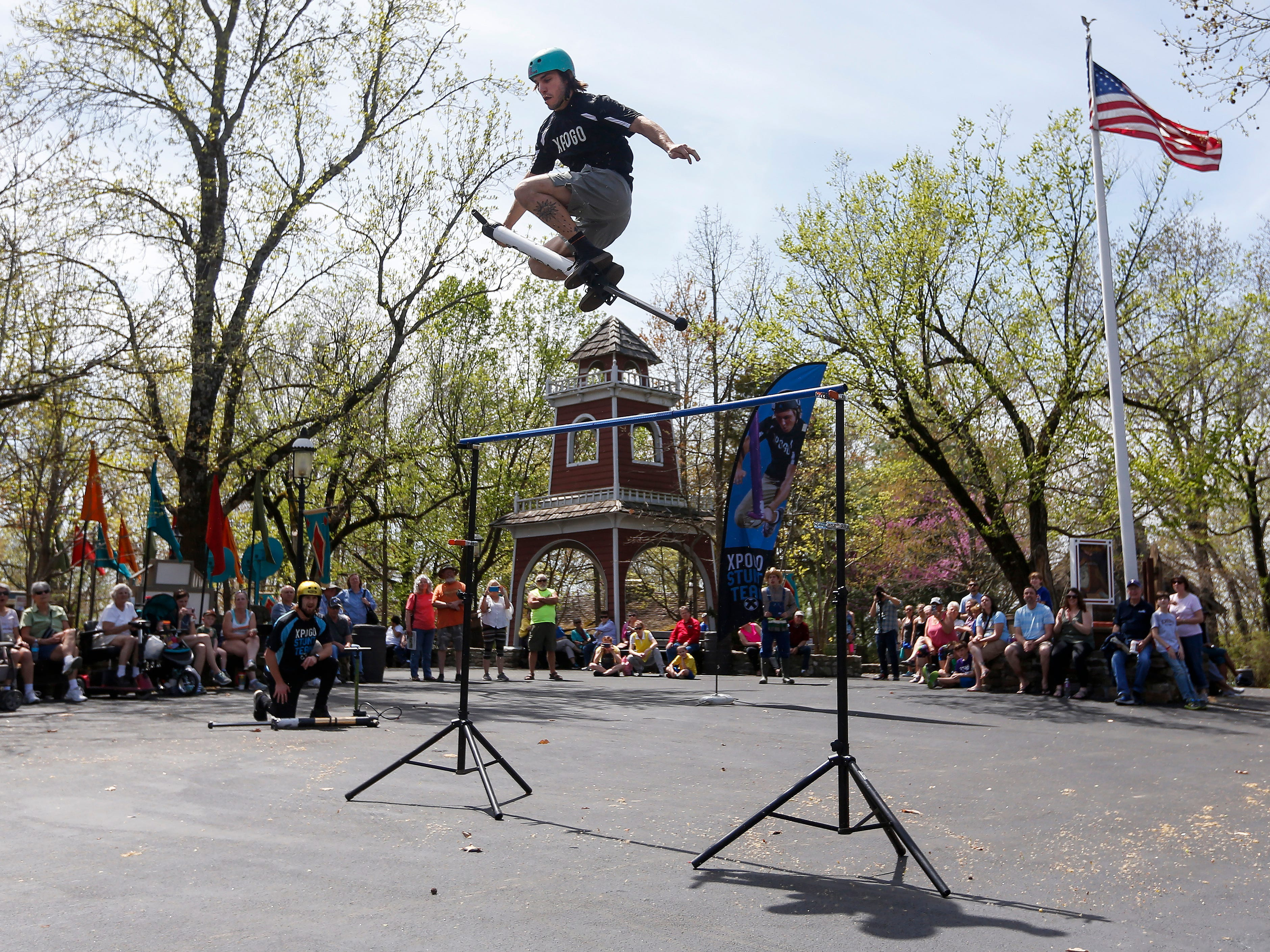 Russ Kaus, a member of the X-Pogo Stunt Team, easily clears the high jump as a part of Festival of Wonder on Wednesday, April 10, 2019 at Silver Dollar City. The event runs Wednesdays through Sundays, April 10-28.