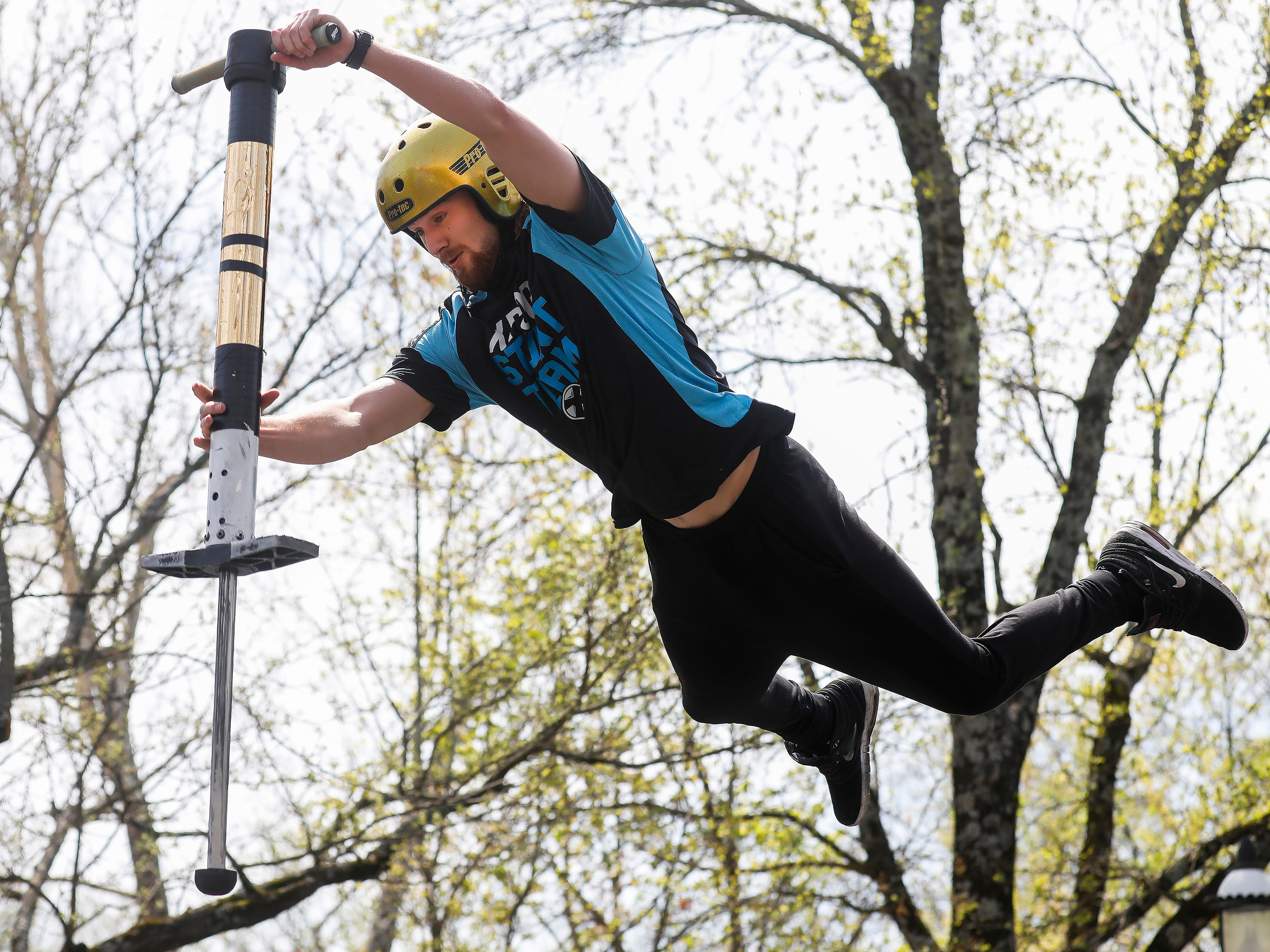 Harry White, a member of the X-Pogo Stunt Team, performs as a part of Festival of Wonder on Wednesday, April 10, 2019 at Silver Dollar City. The event runs Wednesdays through Sundays, April 10-28.