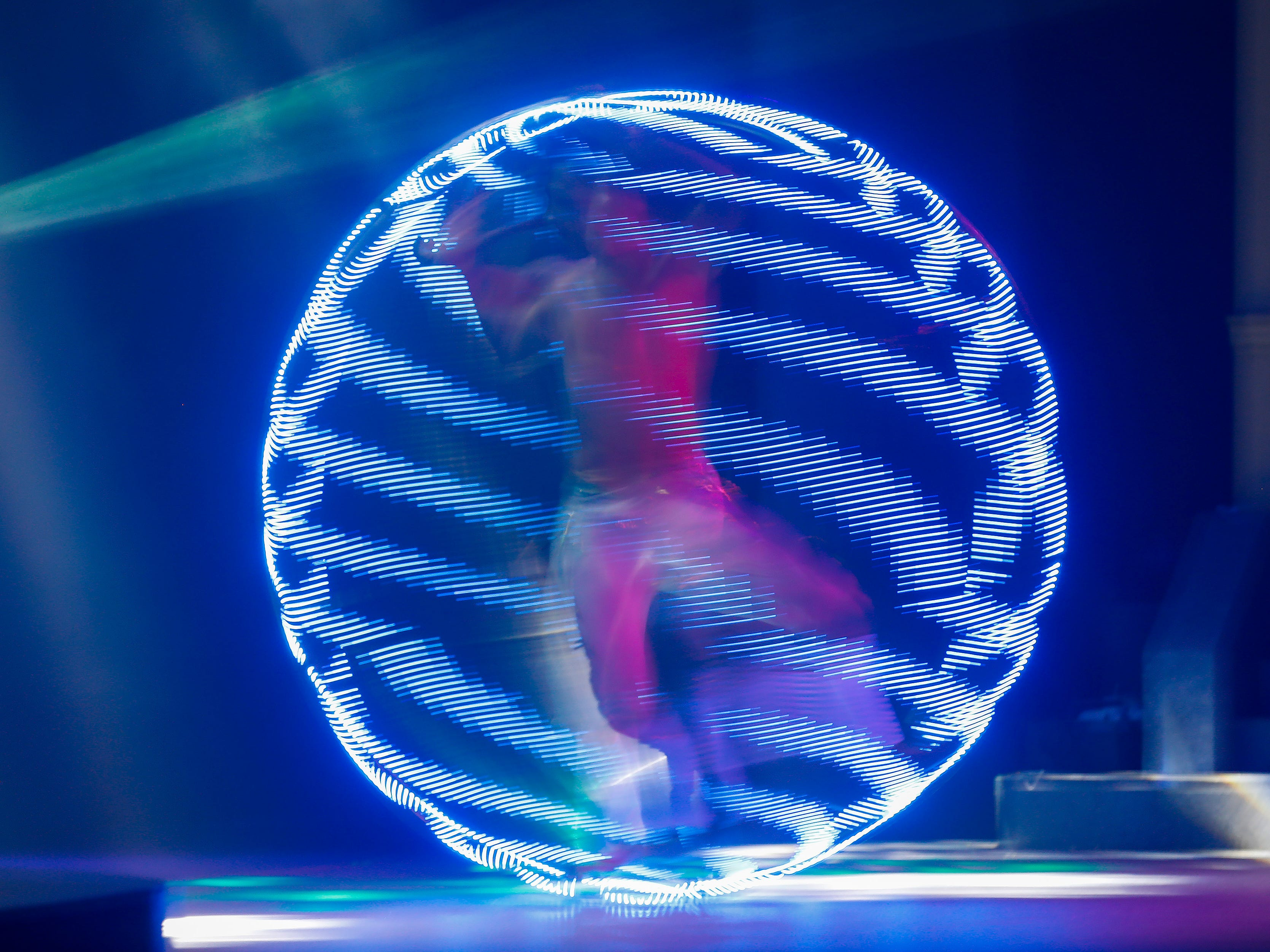 A performer with Phoenix Fire spins in a hoop lined with LED lights during the Festival of Wonder on Wednesday, April 10, 2019 at Silver Dollar City. The event runs Wednesdays through Sundays, April 10-28.