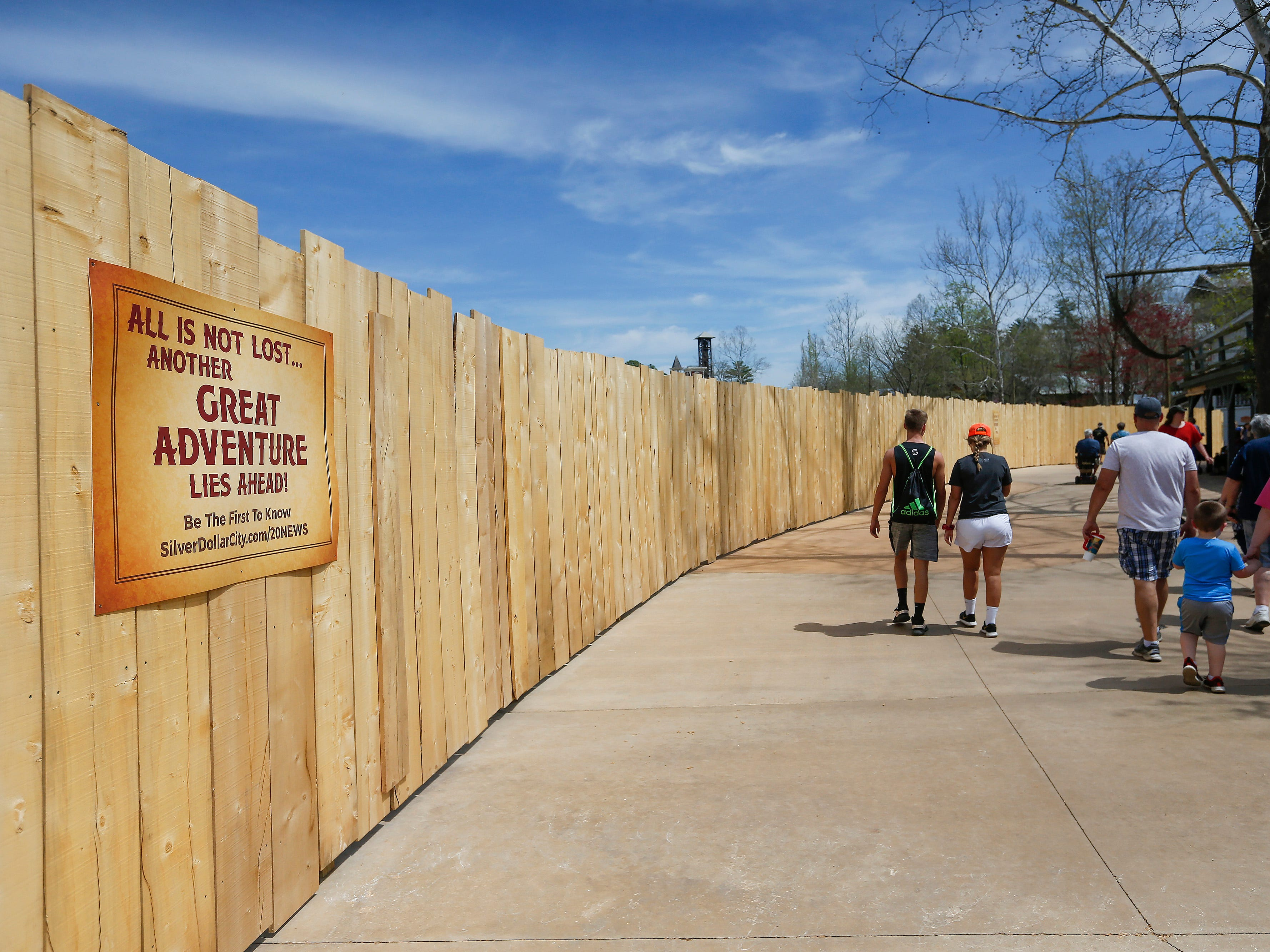 A fence has been put up in front of construction crew who are working on a new attraction at Silver Dollar City on Wednesday, April 10, 2019.