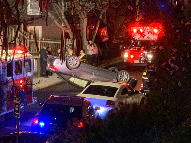 A car flipped on West Beverley Street Wednesday evening.