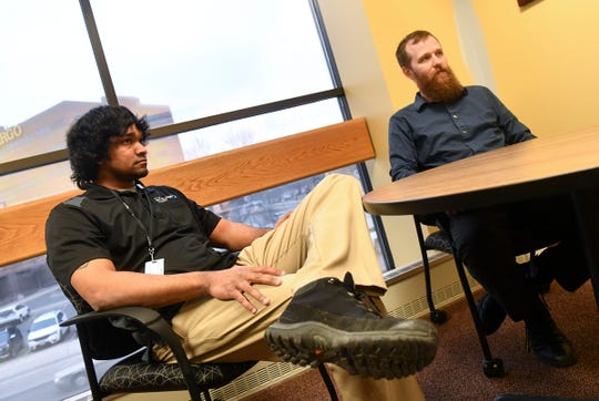 St. Cloud Health Director Matt O'Brien (right) and assistant health director Sagar Chowdhury talk about the city restaurant inspection process during an interview Wednesday, April 10, at St. Cloud City Hall.