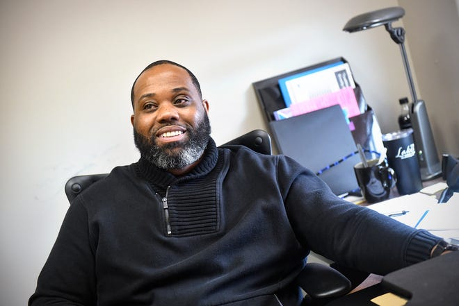 Sebastian Witherspoon talks about accomplishments in his work as director of equity services for St. Cloud school district during an interview Tuesday, April 2, at his office in Waite Park.