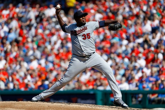 Minnesota Twins' Michael Pineda pitches during the third inning of a baseball game against the Philadelphia Phillies, Saturday, April 6, 2019, in Philadelphia. (AP Photo/Matt Slocum)