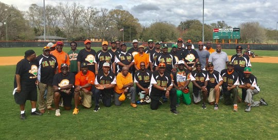 Former FAMU baseball stars gathered on the field last year for a reunion. The players will host their event this weekend as the Rattlers play Bethune-Cookman.