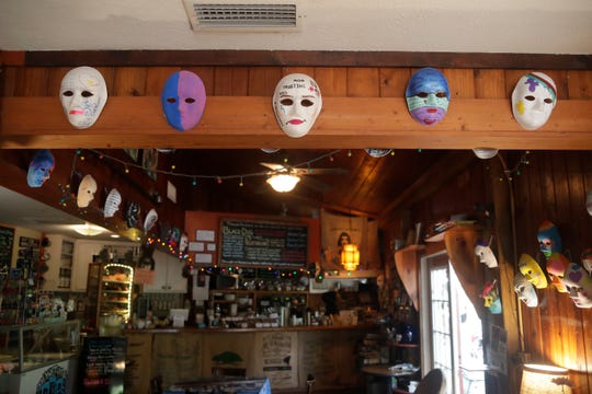Last year's display of masks at Black Dog Cafe for Sexual Assault Awareness Month. This year's event has gone virtual.