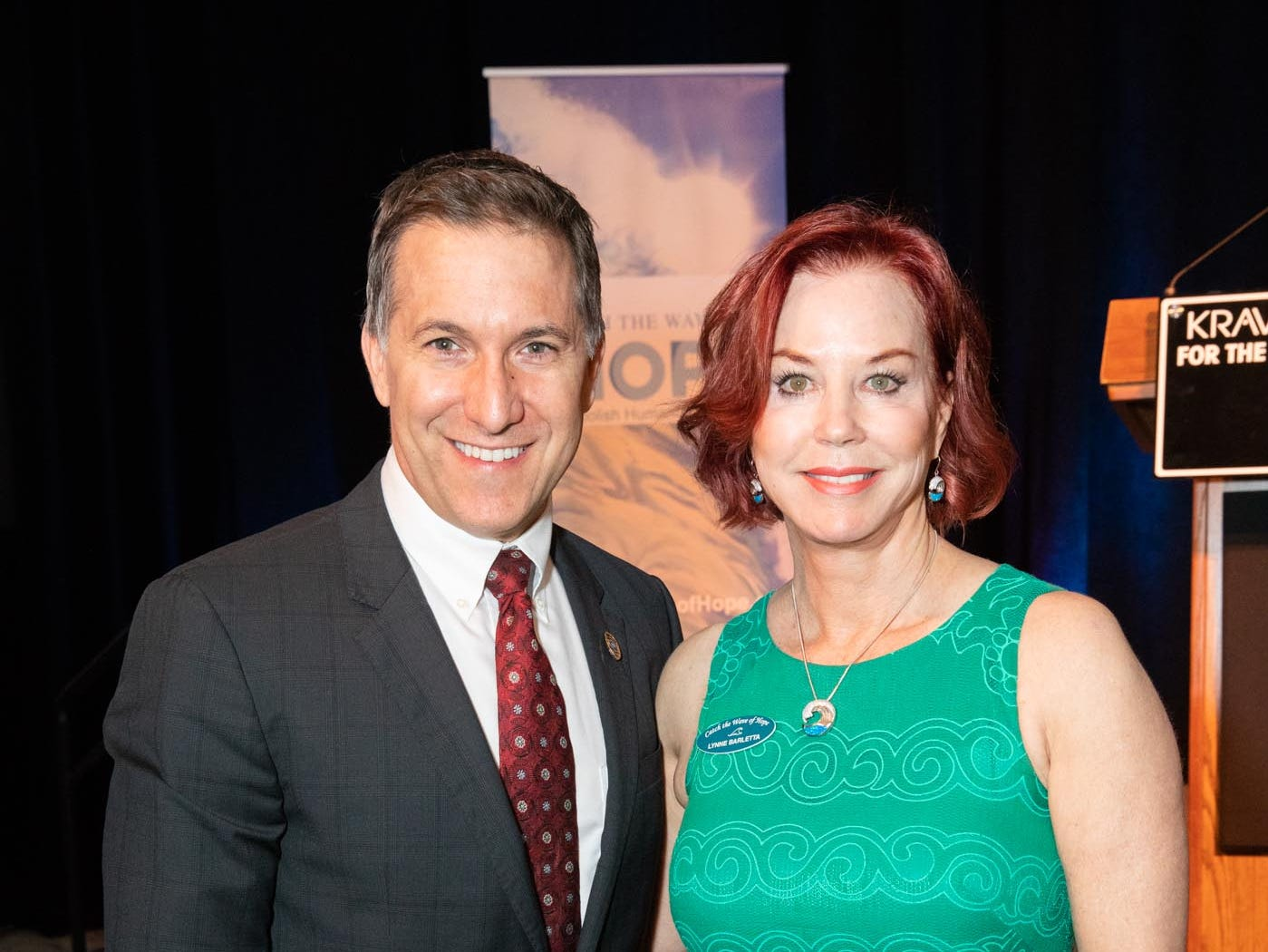 State Attorney Dave Aronberg, left, and Lynne Barletta, founder of Catch the Wave of Hope, at the Kravis Center in West Palm Beach for the nonprofit's breakfast to raise money and awareness about human sex trafficking.