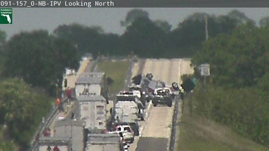 A crash with injuries is affecting northbound lanes on the Turnpike in western St. Lucie County April 11, 2019.
