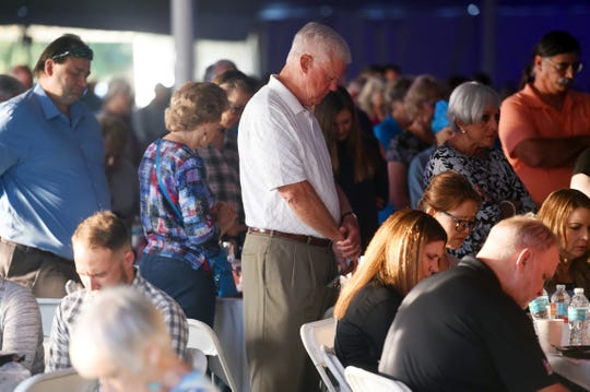 Hundreds of people gathered early at Riverside Park in Vero Beach on Thursday, April 11, 2019, for food and prayer at the 15th annual Vero Beach Prayer Breakfast. Along with inspirational music by Guy Penrod, Christian recording artists and former lead singer of the Gaither Vocal Band, patrons also listened to keynote speaker Jonathan Cahn, author and Messianic rabbi of the Jerusalem Center/Beth Israel in Wayne, New Jersey.