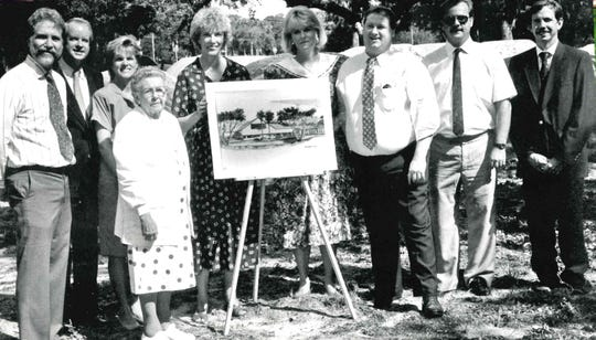 Riverside Children's Theatre's Agnes Wahlstrom Youth Playhouse opened in 1991. Pictured at the groundbreaking are, from left, architect Charles Block, Carter and Susan Hopkins, Agnes Wahlstrom, Cecily Delafield, Nancy Luther, Michael Kint, Mike Hunley and Chris Hubbard.