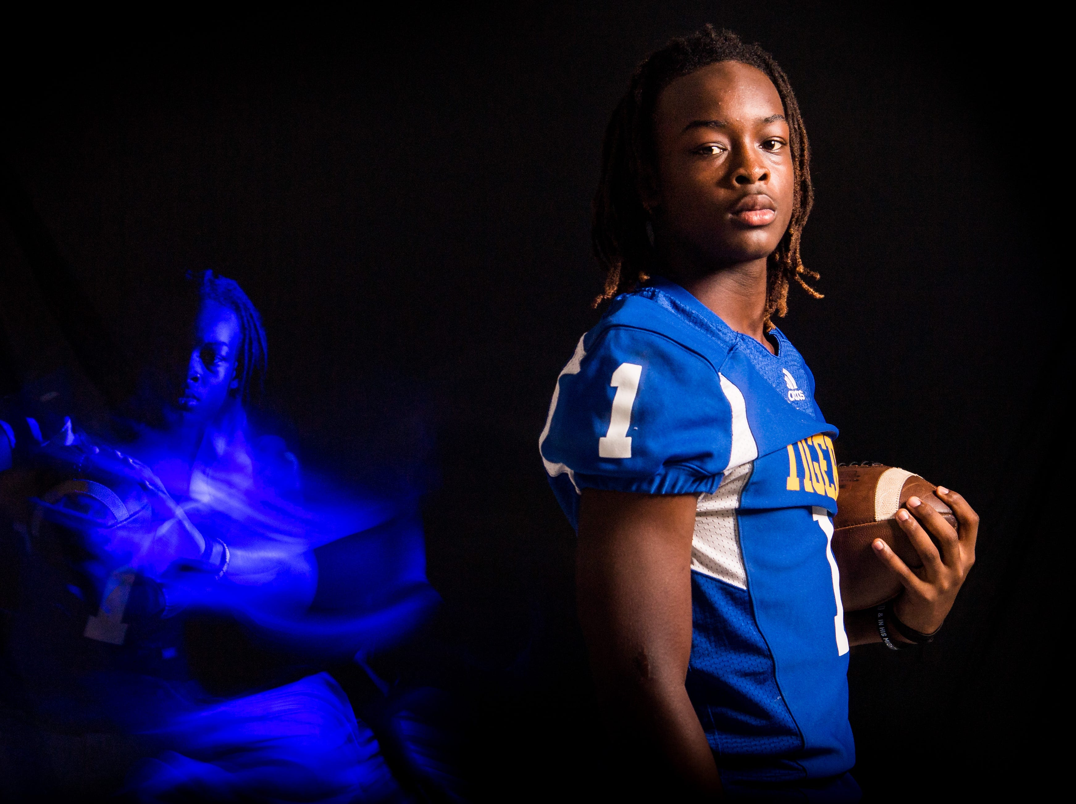 Sir John Reynolds, wide receiver and defensive back with Martin County High School football, is photographed Wednesday, April 10, 2019, at TCPalm in Stuart.
