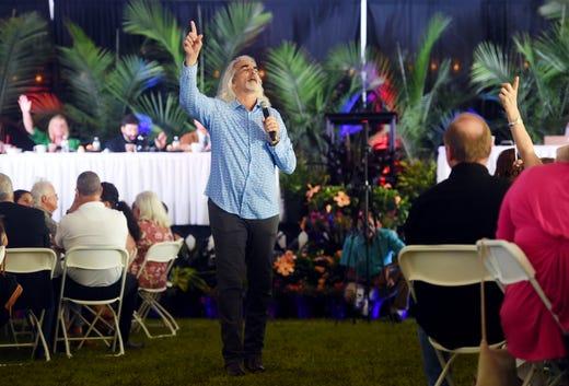 Guy Penrod, former leader singer of the Gaither Vocal Band and Christian touring artist, leads the inspirational music on Thursday, April 11, 2019 during the 15th annual Vero Beach Prayer Breakfast at Riverside Park in Vero Beach. The keynote speaker for the event was Jonathan Cahn, a Messianic rabbi and biblical scholar known for his best selling book 'The Harbinger'.