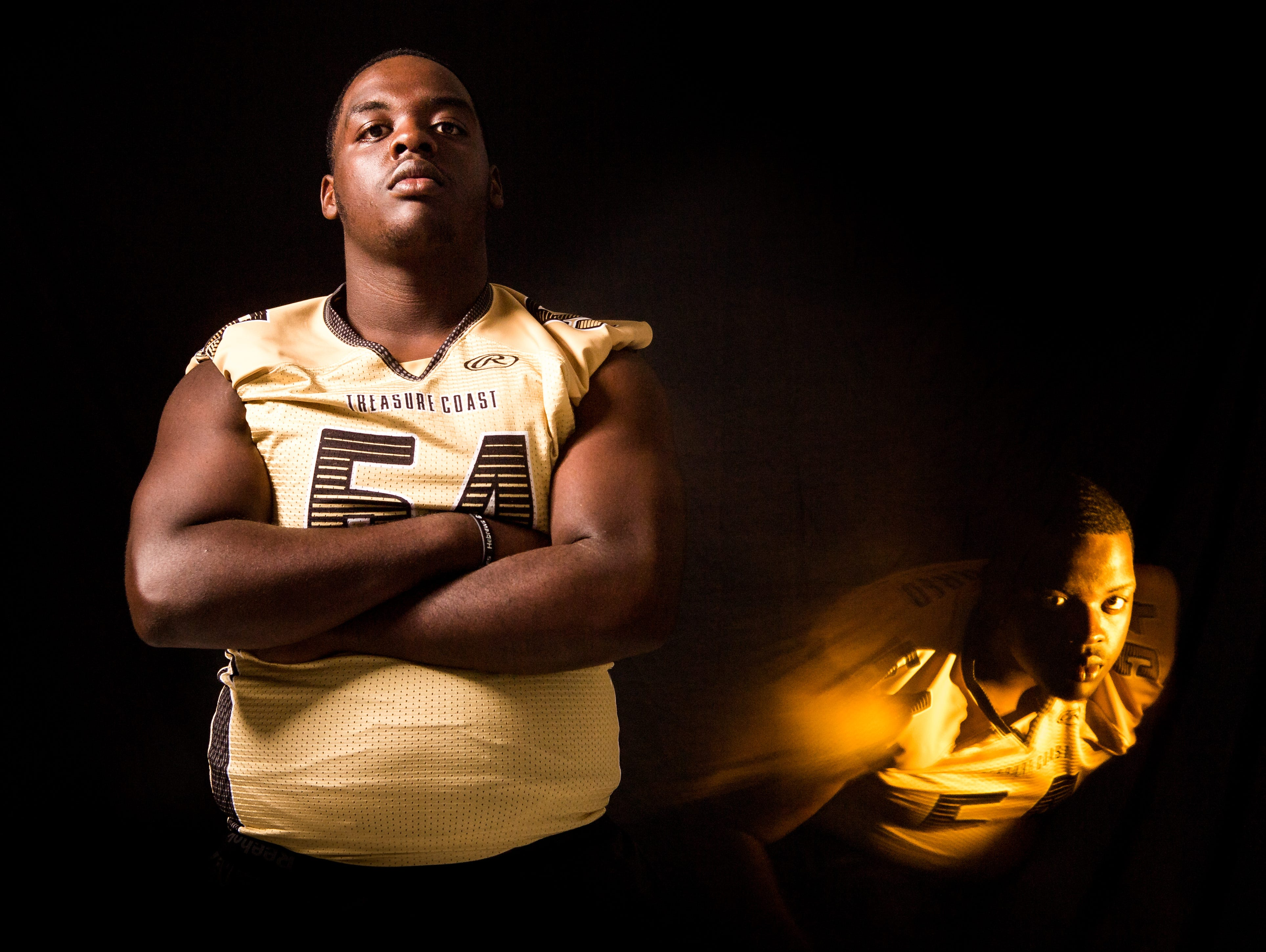 Josh Fleurjuste, defensive tackle with Treasure Coast High School football, is photographed Wednesday, April 10, 2019, at TCPalm in Stuart.
