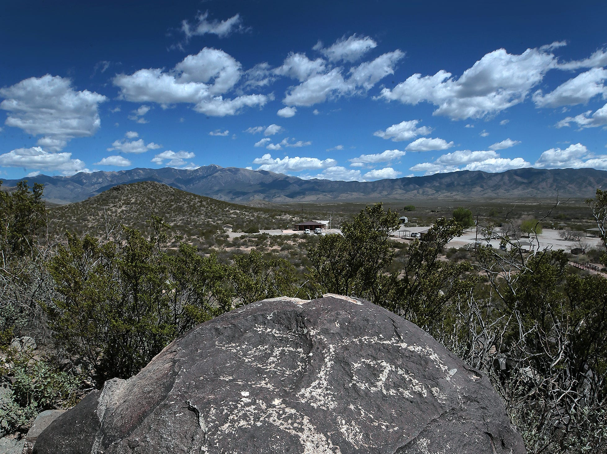 Over 21,000 petroglyphs can be seen on the short 3/4-mile trail at Three Rivers Petroglyph Site north of Alamogordo, New Mexico. Admission to the national park is $5 per carload and campsites are available.