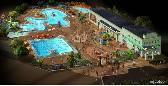 A rendering of the water park that will be built in Central El Paso next to Ross Middle School.
