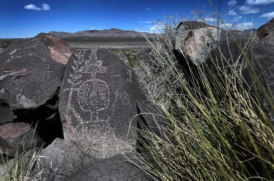 One of the over 21,000 petroglyphs that can be seen on the short 3/4-mile trail at Three Rivers Petroglyph Site north of Alamogordo, N.M. Admission to the national park is $5 per carload. Campsites also are available.
