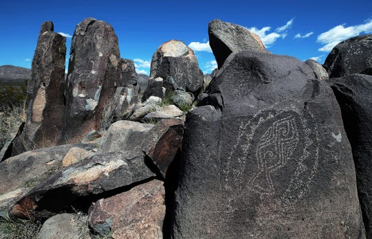 A few of the designs among the over 21,000 petroglyphs that can be seen on the short 3/4-mile trail at Three Rivers Petroglyph Site north of Alamogordo, N.M. Admission to the national park is $5 per carload. Campsites also are available.
