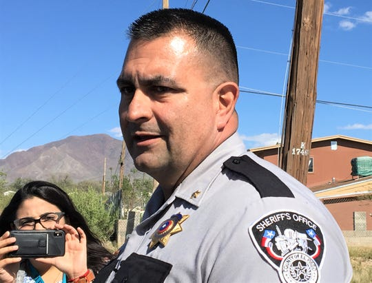 El Paso County sheriff's Cmdr. Robert Flores speaks to the news media about a deputy-involved fatal shooting in Canutillo, Texas.
