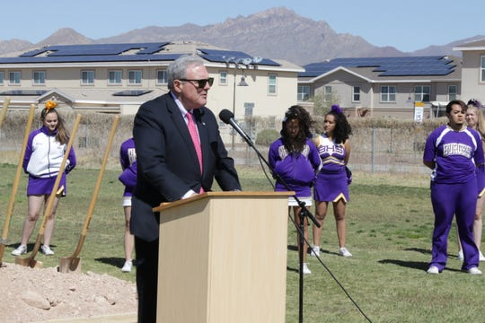 Mayor Dee Margo speaks Thursday, April 11, 2019, at the groundbreaking ceremony for the new water park that will be next to Ross Middle School in Central El Paso.