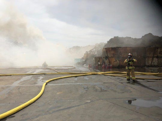 Fire crews were working to put out a giant mulch fire at a recycling center in Saticoy Thursday afternoon.
