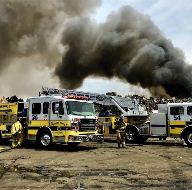 Fire crews battle blaze at recycling center in Saticoy