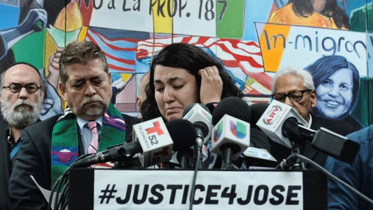 Melissa Castro tries to force back tears as she talks about her husband, Jose Luis Ibarra Bucio, while joined by local religious leaders during a news conference at the offices of the Coalition for Humane Immigrant Rights of Los Angeles on Wednesday.