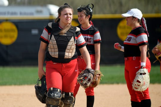 Vineland catcher Devin Coia gets ready for a game against Millville on Monday, April 8, 2019.