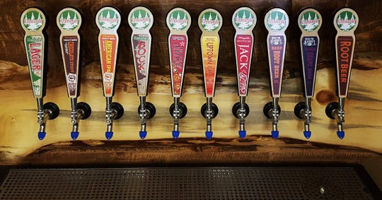 Beers on tap at Rhinelander Brewing Company in Rhinelander, WI.