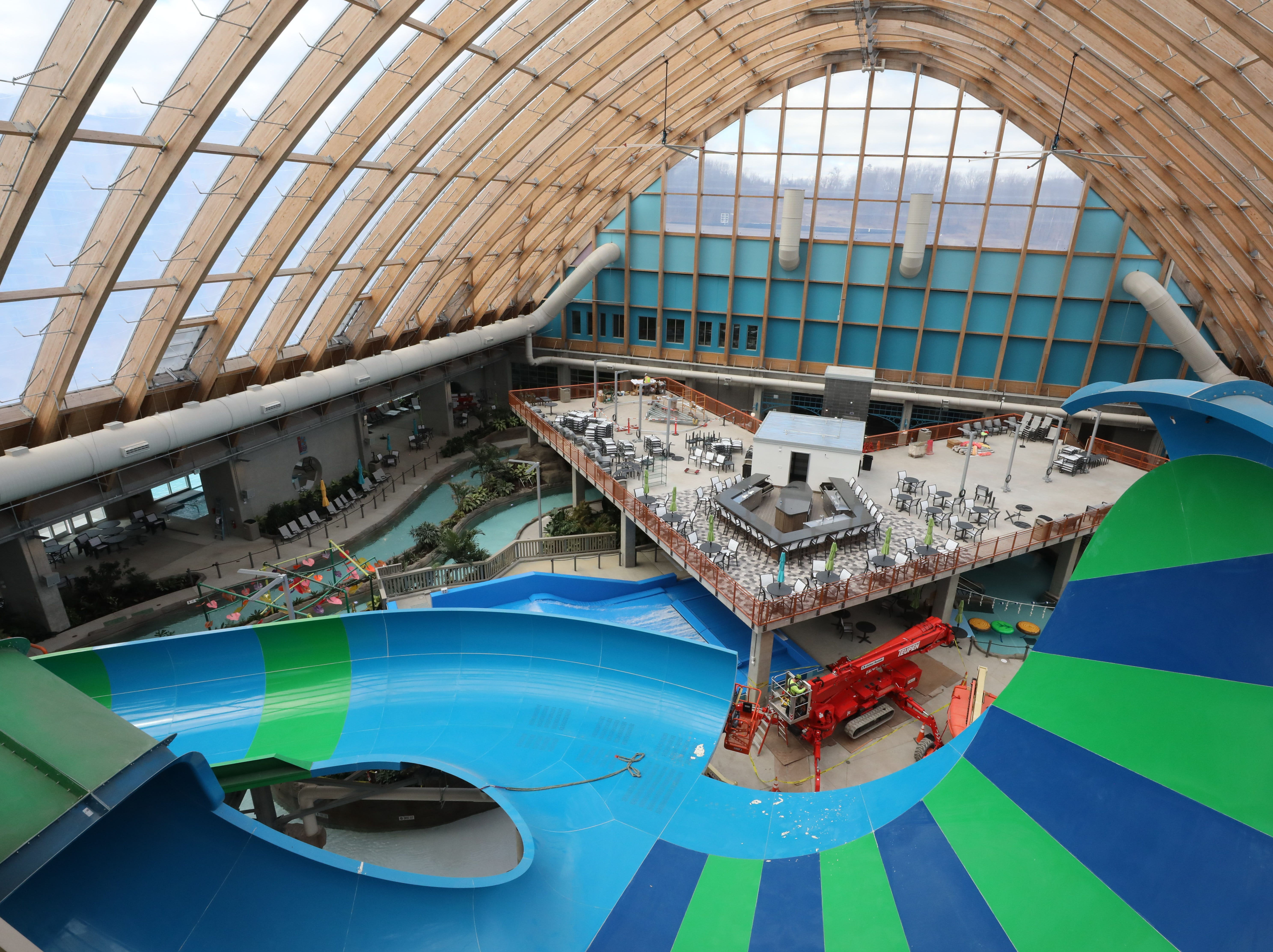 Water slides are assembled under the 60,000 square foot transparent roofing system, that keeps the interior at a toasty 84 degrees for year round warmth, at The Kartrite Resort & Indoor Waterpark in Monticello, April 10, 2019.