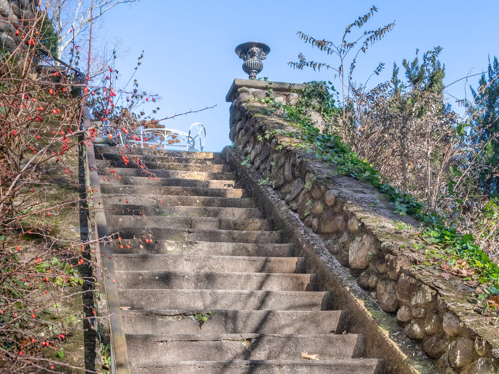 A staircase at Overledge in Grand View.