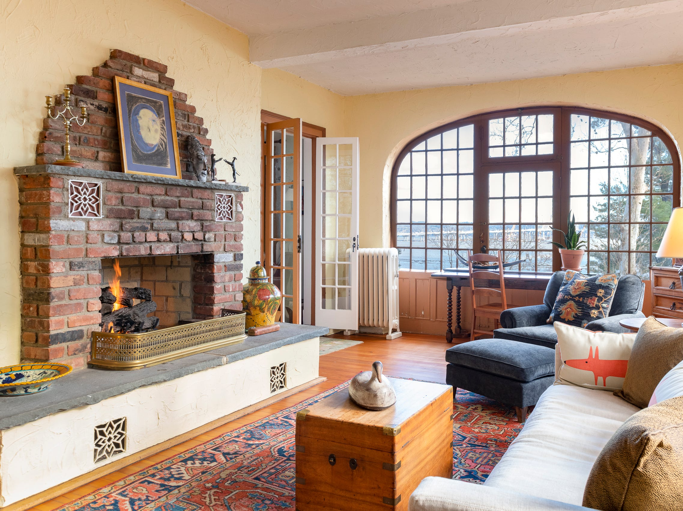The home boasts four working fireplaces.